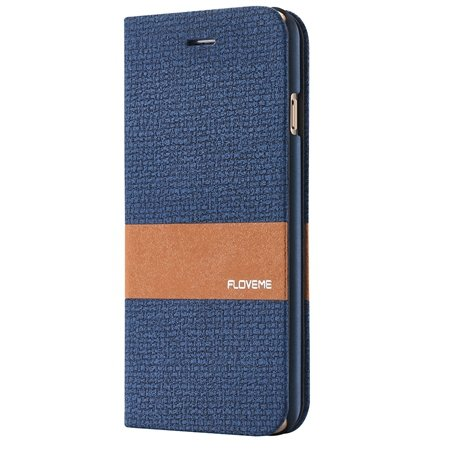 For Iphone 6 5.5 Wallet Case Linen Soft Feeling Pu Leather Case Fo 32274916315-4-Dark Blue
