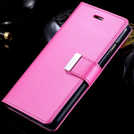 For Iphone 6 Plus Leather Case Luxury Men Women Flip Pu Leather Ca 32278142450-5-Hot Pink