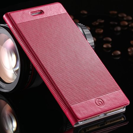 Luxury Retro Red Grid Pattern Pu Flip Leather Case For Apple Iphon 32226170304-3-Hot Pink