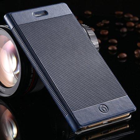 Luxury Retro Red Grid Pattern Pu Flip Leather Case For Apple Iphon 32226170304-7-Dark Blue
