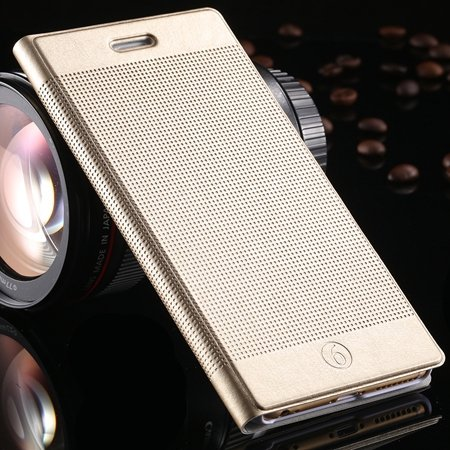 Luxury Retro Red Grid Pattern Pu Flip Leather Case For Apple Iphon 32226170304-11-Gold