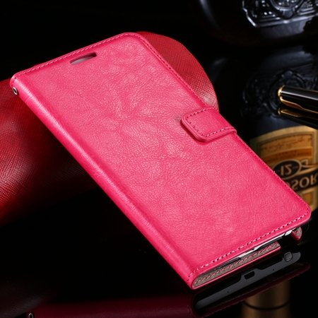 For Note Edge Case Vintage Stand Pu Flip Leather Case For Samsung  32275293499-5-Hot Pink