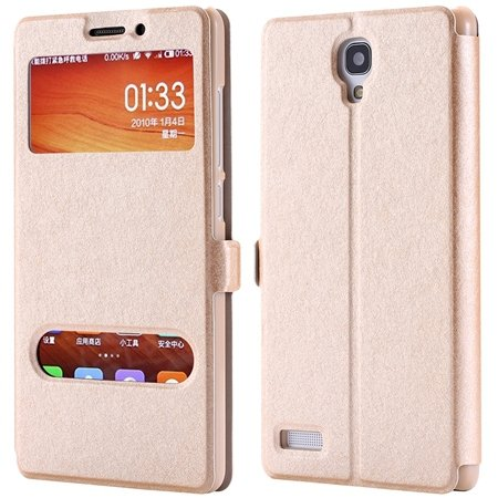 For Hongmi Note Smart Case Luxury Soft Silk Pu Leather Case For Xi 32283801504-3-Gold