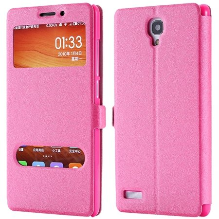 For Hongmi Note Smart Case Luxury Soft Silk Pu Leather Case For Xi 32283801504-5-Hot Pink