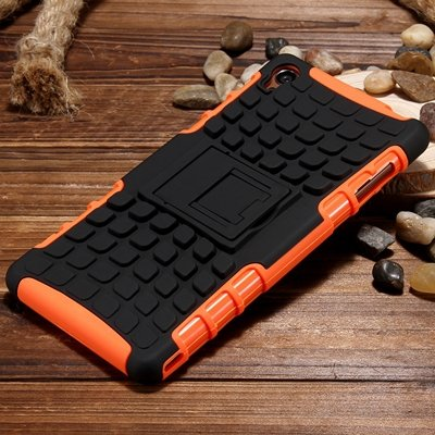 Z3 Case Retro Cool Luxury Slip-Proof Kick-Stand Armor Case For Son 32270150376-6-Orange