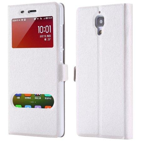 For Xiaomi4 Window View Cases Gold Retro Luxury Soft Silk Pu Leath 32284027604-2-Sliver