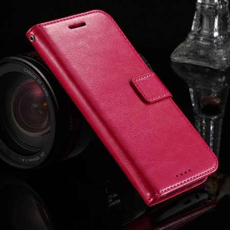 2015 Hot Retro Luxury Pu Leather Case For Htc One M8 Wallet Phone  32272991122-5-Hot Pink