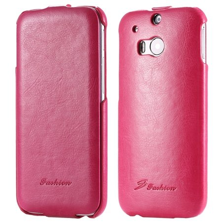 M8 Leather Case Luxury Retro Pu Vertical Flip Leather Case For Htc 32267795808-5-Hot Pink