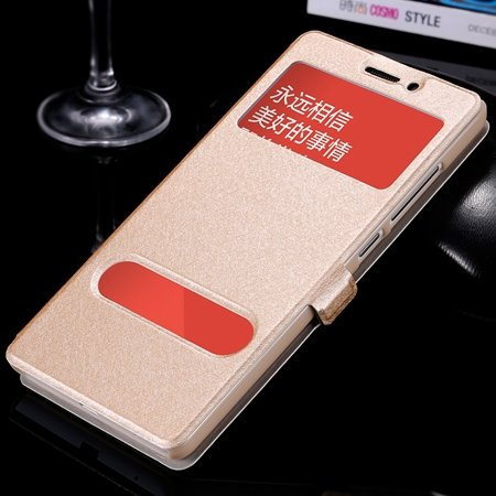 Luxury Soft Silk Pu Leather Case For Xiaomi Redmi Note Smart Windo 32283770203-3-Gold