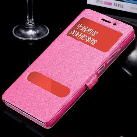 Luxury Soft Silk Pu Leather Case For Xiaomi Redmi Note Smart Windo 32283770203-5-Hot Pink