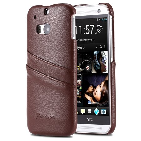 M8 Back Leather Case Luxury Lychee Pattern Genuine Leather Case Fo 2047306280-1-Brown