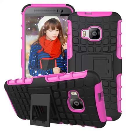 M9 Hard Case Luxury Pc + Tpu Hybird Armor Case For Htc One M9 Rugg 32297666464-8-Hot Pink