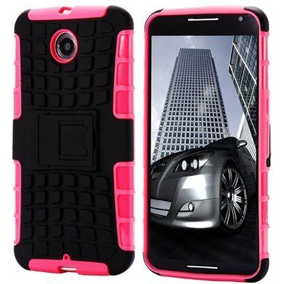 For Nexus 6 Hard Back Case Unique Slip-Proof Tough Kick-Stand Case 32294450416-1-Pink
