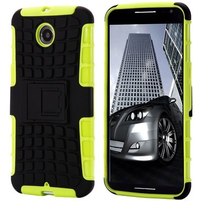 For Nexus 6 Hard Back Case Unique Slip-Proof Tough Kick-Stand Case 32294450416-3-Green