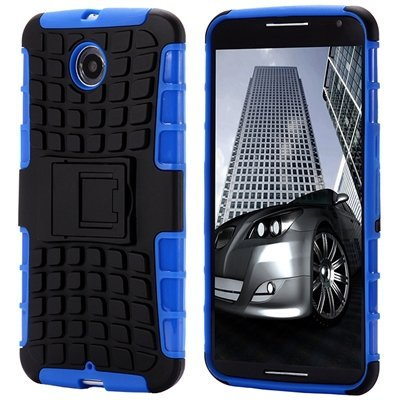 For Nexus 6 Hard Back Case Unique Slip-Proof Tough Kick-Stand Case 32294450416-4-Blue