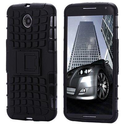 For Nexus 6 Hard Back Case Unique Slip-Proof Tough Kick-Stand Case 32294450416-7-Black