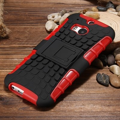 M8 Hard Back Case Luxury Retro Slip-Proof Kick-Stand Case For Htc  32295588948-5-Red