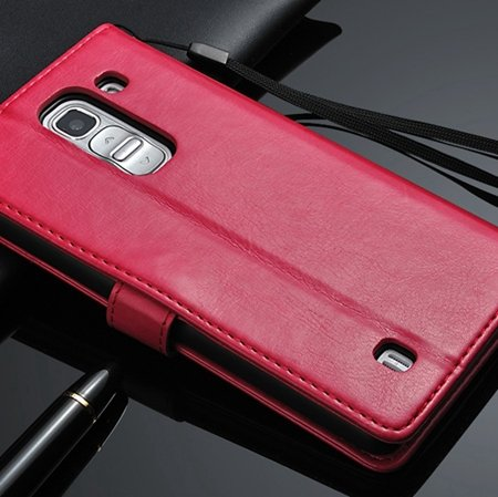 G2 Retro Luxury Pu Flip Leather Case For Lg G2 Optimus D801 Wallet 32283684355-5-Hot Pink