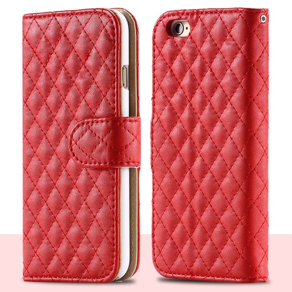 Classic Grid Structure Full Wallet Phone Cover For Iphone 6 4.7Inc 32241492900-3-red