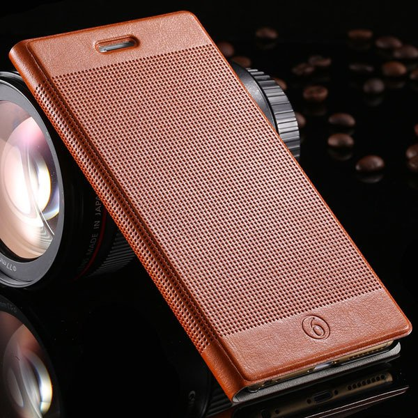Popular Grid Structure Flip Wallet Shell For Iphone 6 Plus 5.5Inch 32214571519-6-deep brown
