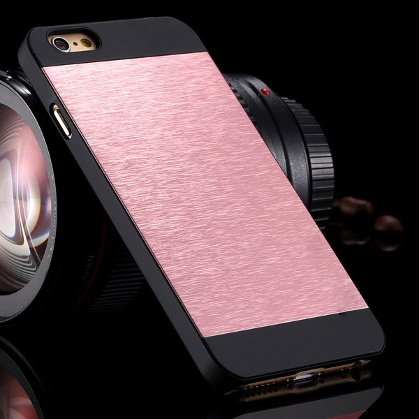I6 Slim Case Aluminum Metal Brush Back Cover For Iphone 6 4.7Inch  32231887341-7-pink