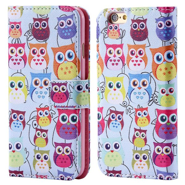Luxury Mat Print Flip Cover For Iphone 6 4.7Inch Leather Case Stan 32247875125-2-many owls