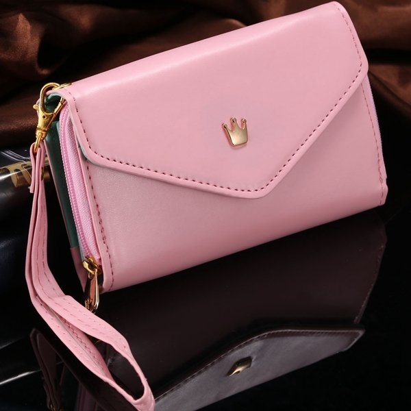 For Iphone 6 Full Pouch Leather Case For Iphone 6 4.7'' Universal  2044754607-3-pink