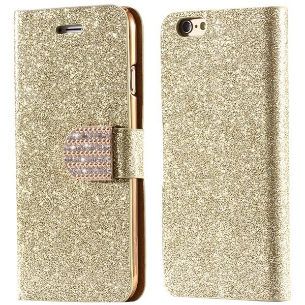 Luxury Bling Diamond Leather Case For Iphone 6 4.7Inch Full Flip C 32246663590-4-gold