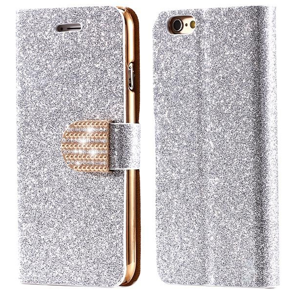 Luxury Bling Diamond Leather Case For Iphone 6 4.7Inch Full Flip C 32246663590-5-silver
