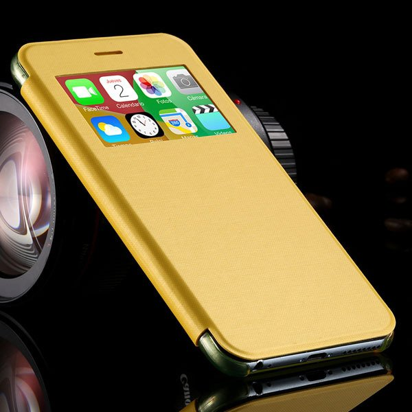 I6 Plus Window View Case For Iphone 6 Plus 5.5Inch Flip Pu Leather 32236780961-5-yellow