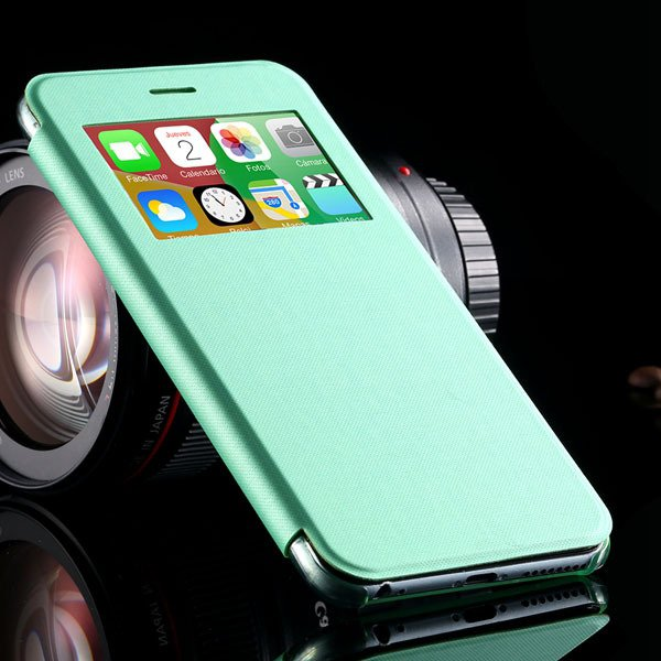 I6 Plus Window View Case For Iphone 6 Plus 5.5Inch Flip Pu Leather 32236780961-6-green