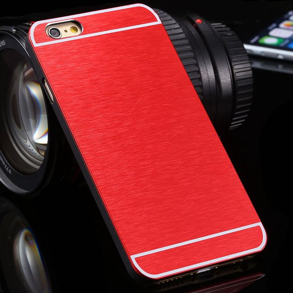 Newest Bling Aluminum Metal Brush Hard Cover For Iphone 6 Plus 5.5 32251042813-3-red