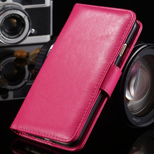 I6 Flip Case Stand Pu Leather Cover For Iphone 6 4.7Inch Wallet Ba 1990100255-7-hot pink