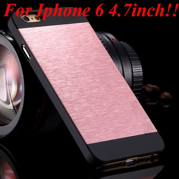 I6/6Plus Aluminum Shiny Metal Brush Hard Cover For Iphone 6 4.7Inc 32232320776-17-pink for iphone 6