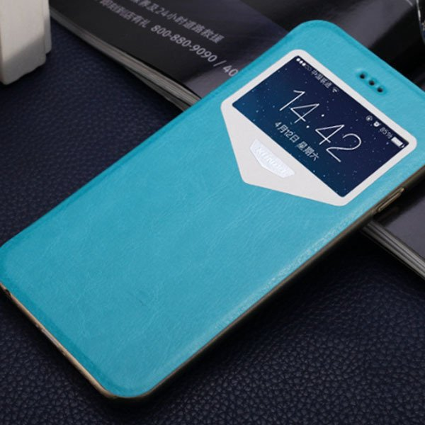 Super Thin Full Cover For Iphone 6 4.7Inch Pu Leather Window View  32216312142-3-blue