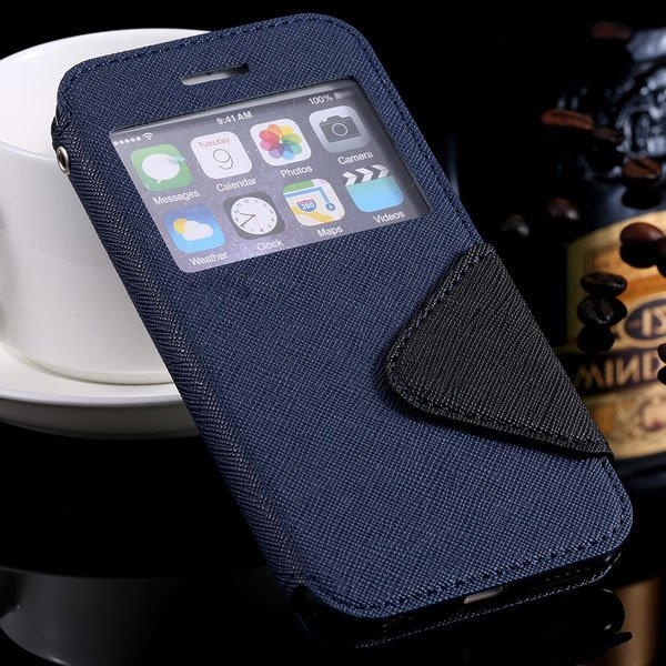 Window Display View Cover For Iphone 6 4.7Inch Pu Leather Case Sta 32254734262-1-blue for iphone 6