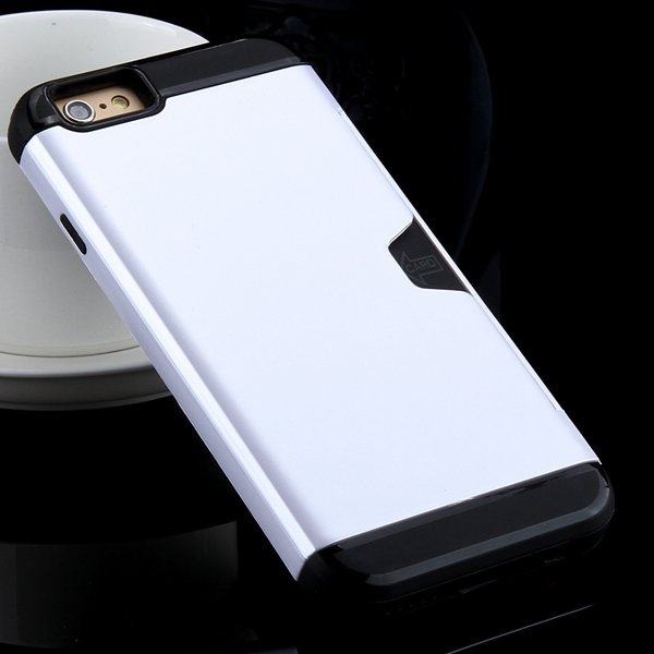 I6 Slim Case Hard Pc + Soft Tpu Back Cover With Card Slot Stand Fo 32275777854-4-silver