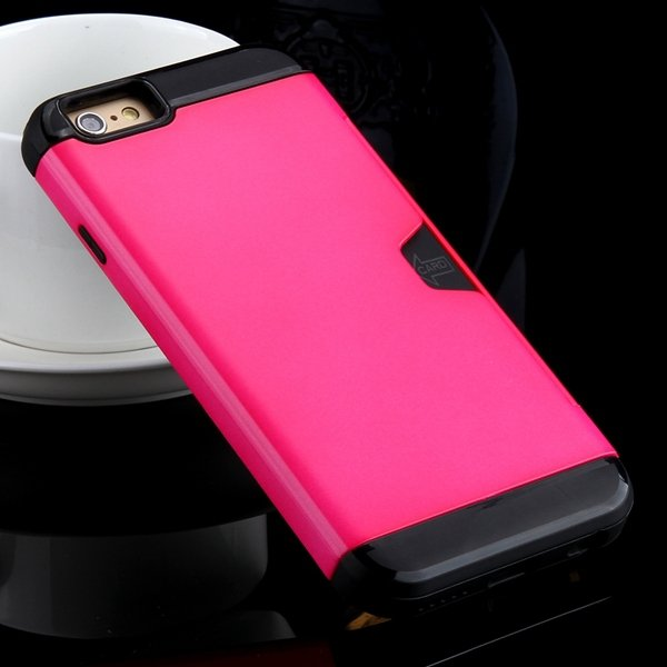 I6 Slim Case Hard Pc + Soft Tpu Back Cover With Card Slot Stand Fo 32275777854-6-rose