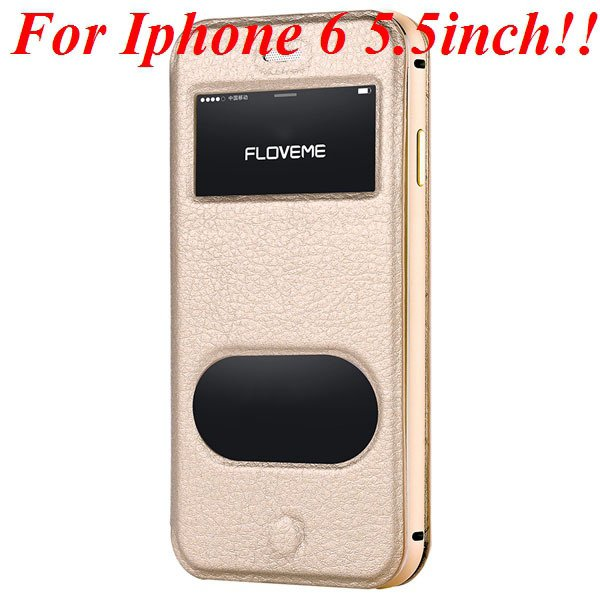I6/6 Plus Dual Window Case Luxury Genuine Leather Cover For Iphone 32289636912-7-gold for plus