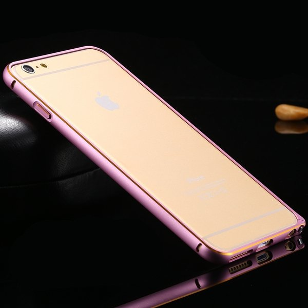 Shiny Gold Metal Frame Cell Phone Cover For Iphone 6 Plus 5.5Inch  32214039005-2-pink
