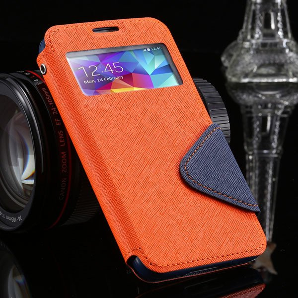 S5 Window Display View Case For Samsung Galaxy S5 I9600 Korea Diar 1877348597-9-orange