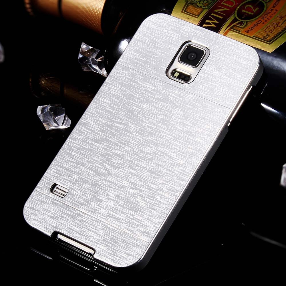 S5 Aluminum Deluxe Gold Metal Brush Back Case For Samsung Galaxy S 32237608035-1-silver