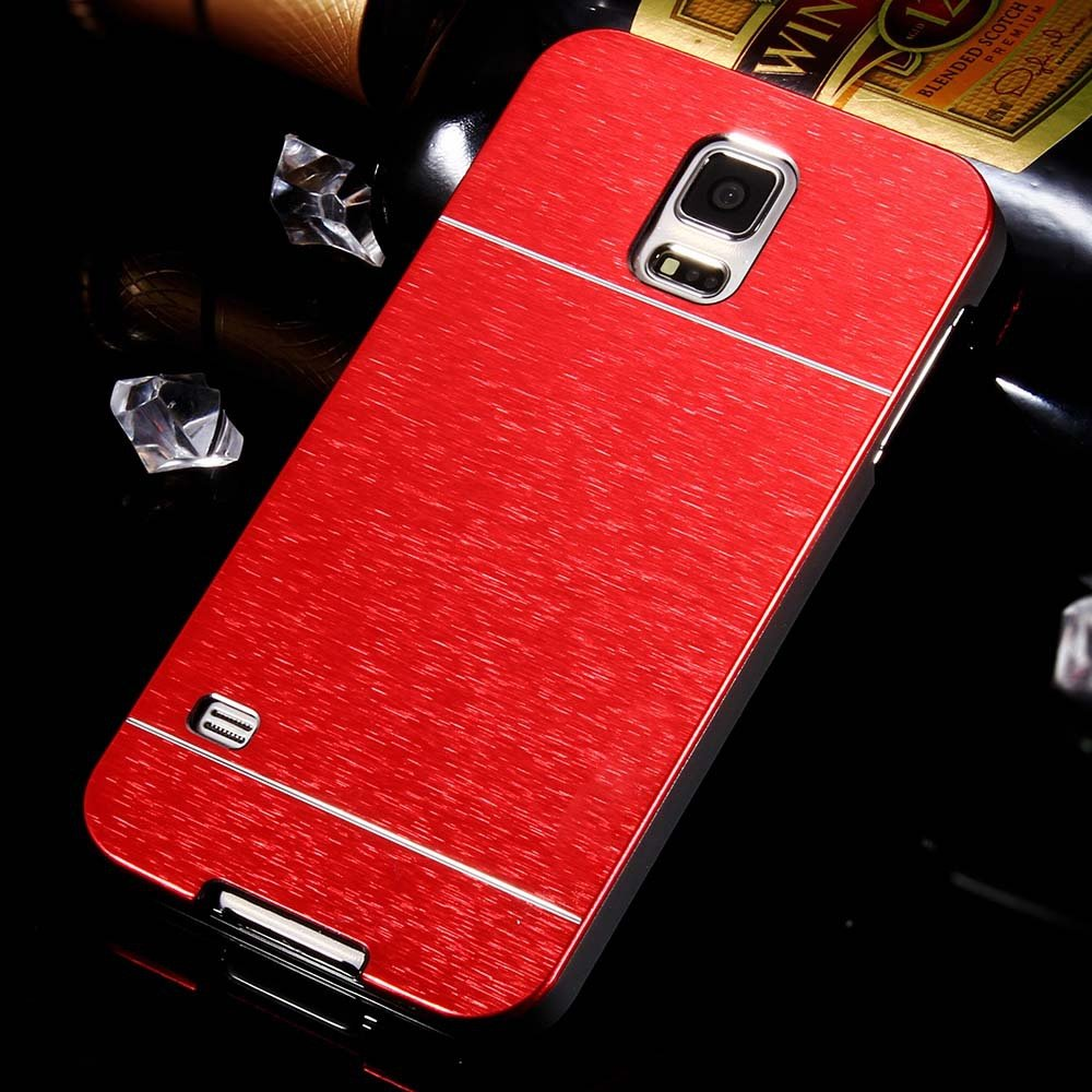 S5 Aluminum Deluxe Gold Metal Brush Back Case For Samsung Galaxy S 32237608035-2-red