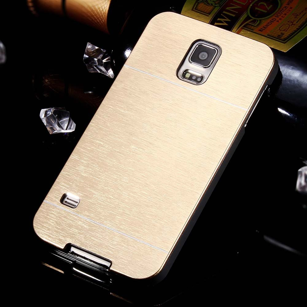 S5 Aluminum Deluxe Gold Metal Brush Back Case For Samsung Galaxy S 32237608035-4-gold
