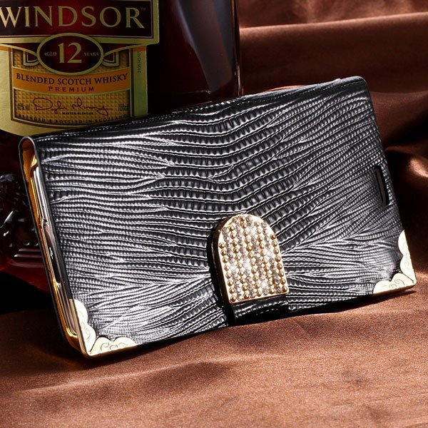 Luxury Bling Diamond Wallet Cover For Samsung Galaxy S5 I9600 Leat 32245544433-1-black