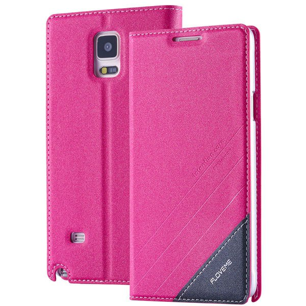For Note 4 Magnetic Flip Case Original Pu Leather Handmade Cover F 32266173439-3-hot pink