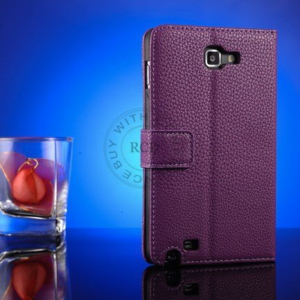 Top Quality Pu Leather Case For Samsung Galaxy Note I9220 N7000 St 1063977847-4-Purple