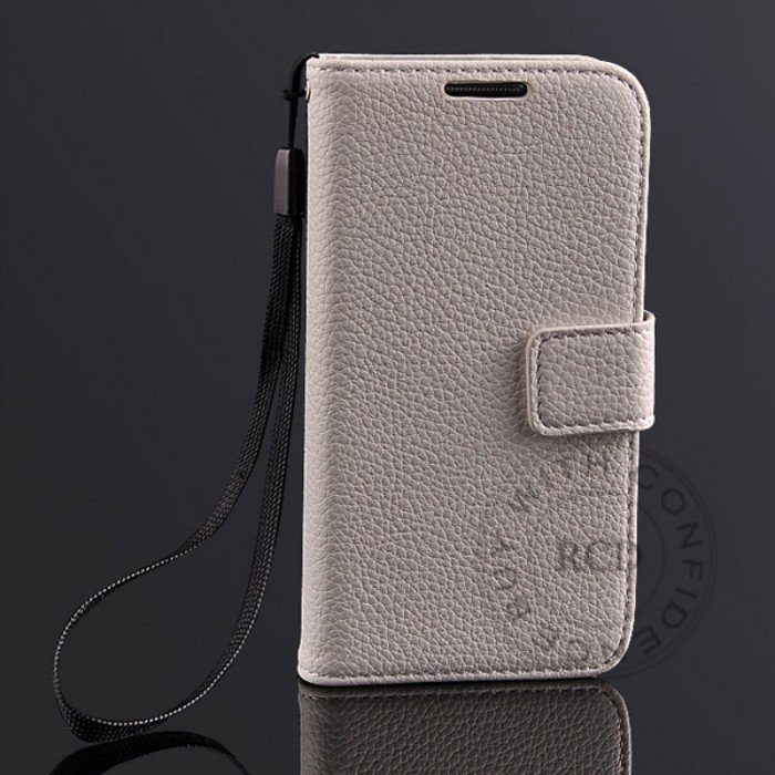 S4 Mini Lychee Pattern Leather Case For Samsung Galaxy S4 Mini I91 1274029657-2-White