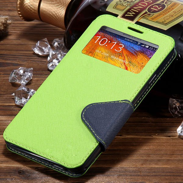 For Note 3 View Case Flip Cell Phone Cover For Samsung Galaxy Note 1961185459-8-green