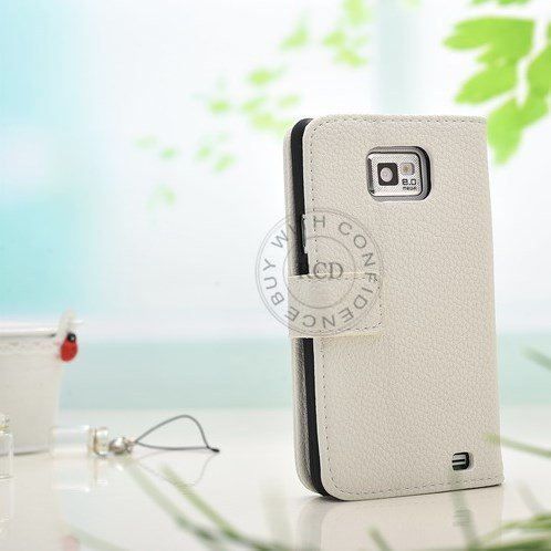 Factory Price Pu Wallet Flip Leather Case For Samsung Galaxy S2 Ii 1064181507-2-White